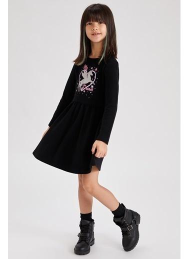 DeFacto Kız Çocuk Unicorn Baskılı Elbise Siyah